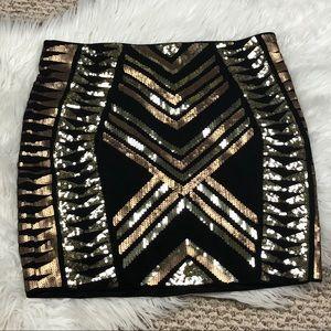 SOLD ❗️Express Sequin Aztec Print Skirt Medium
